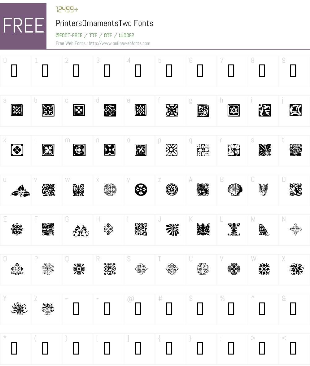 PrintersOrnamentsTwo Font Screenshots