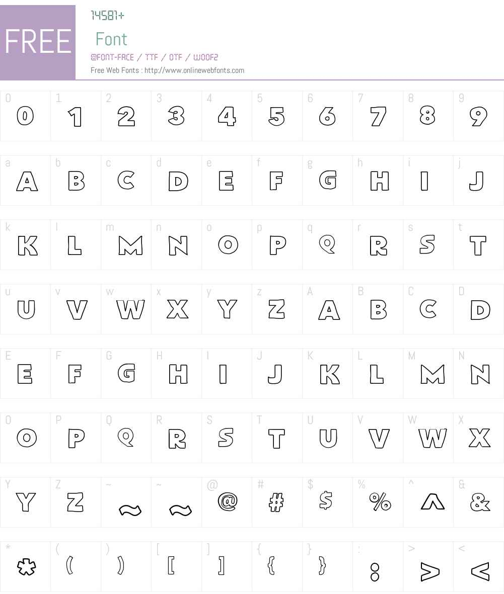 FlatBreadOutline Font Screenshots