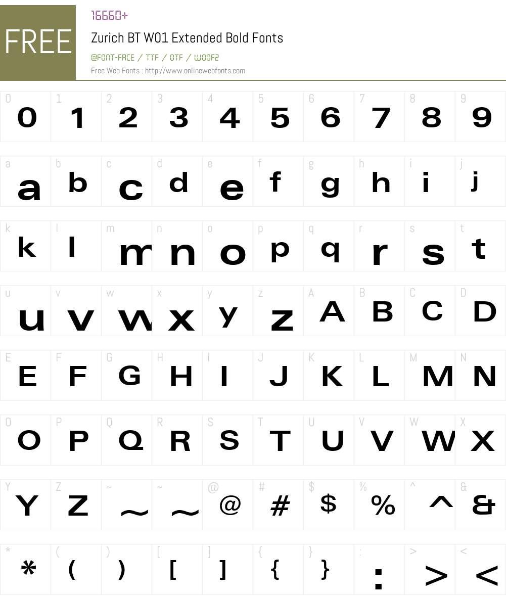 ZurichBTW01-ExtendedBold Font Screenshots