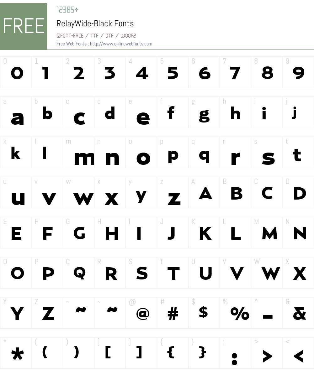 RelayWide-Black Font Screenshots