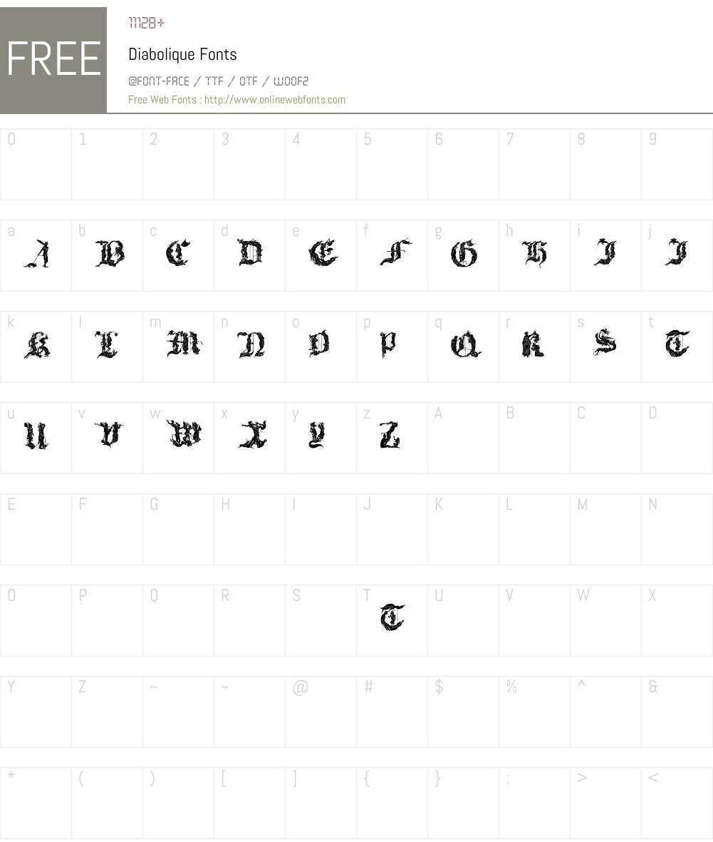 Diabolique Font Screenshots