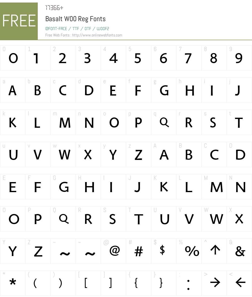 BasaltW00-Reg Font Screenshots