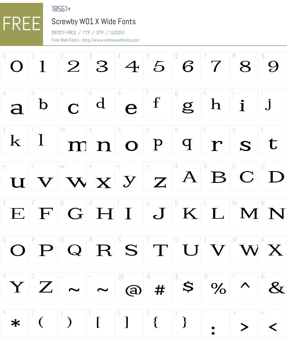 ScrewbyW01-XWide Font Screenshots