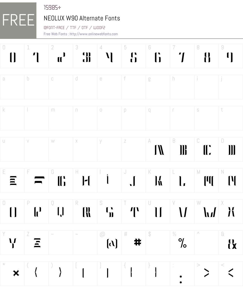 NEOLUXW90-Alternate Font Screenshots