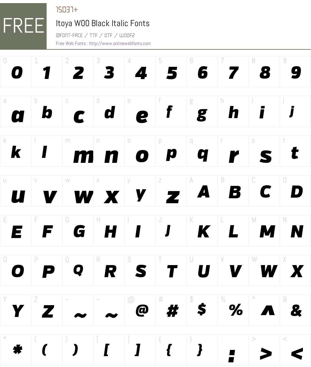 ItoyaW00-BlackItalic Font Screenshots