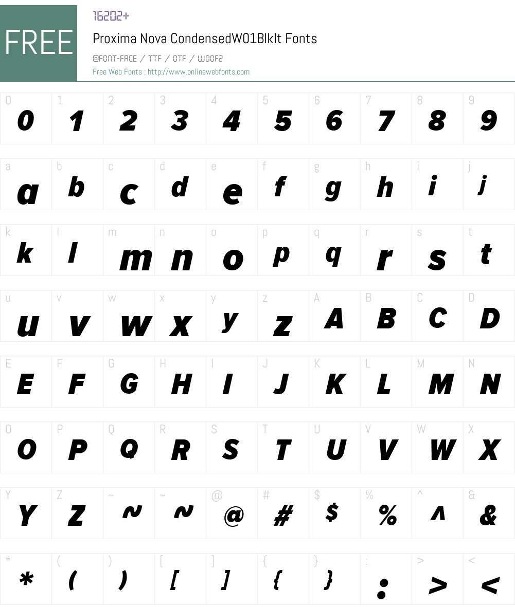 ProximaNovaCondensedW01-BlkIt Font Screenshots