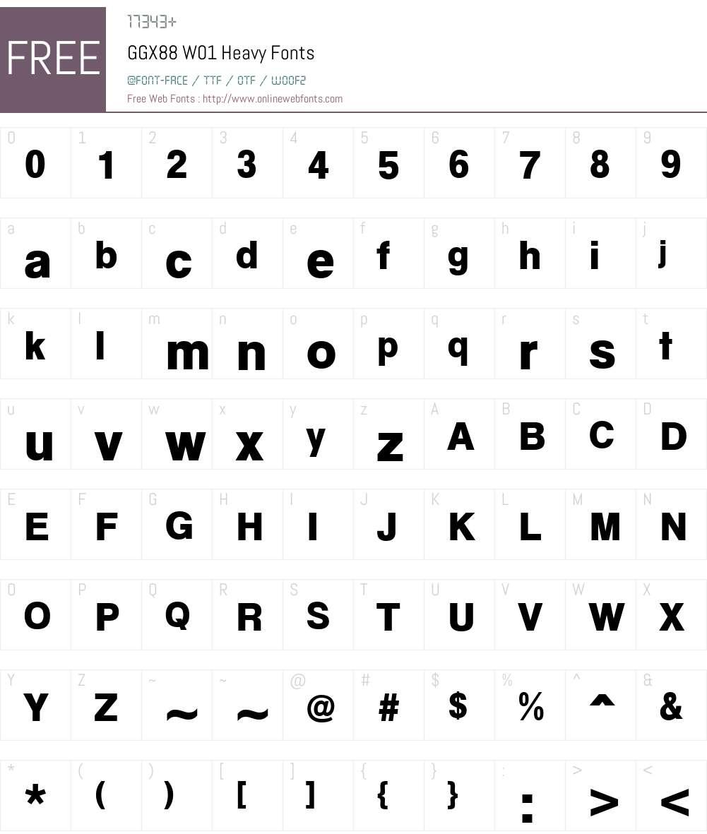GGX88W01-Heavy Font Screenshots