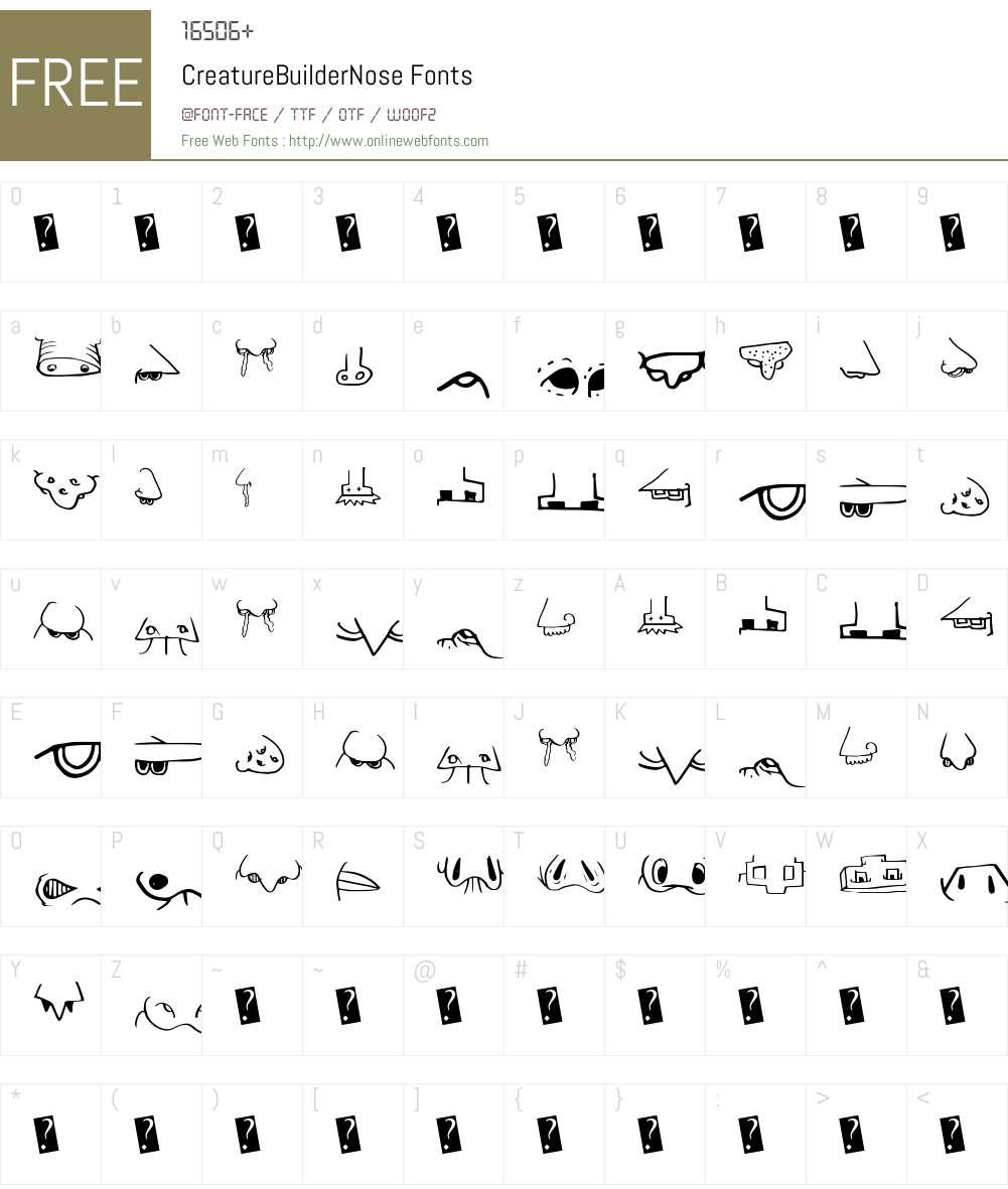CreatureBuilderNose Font Screenshots