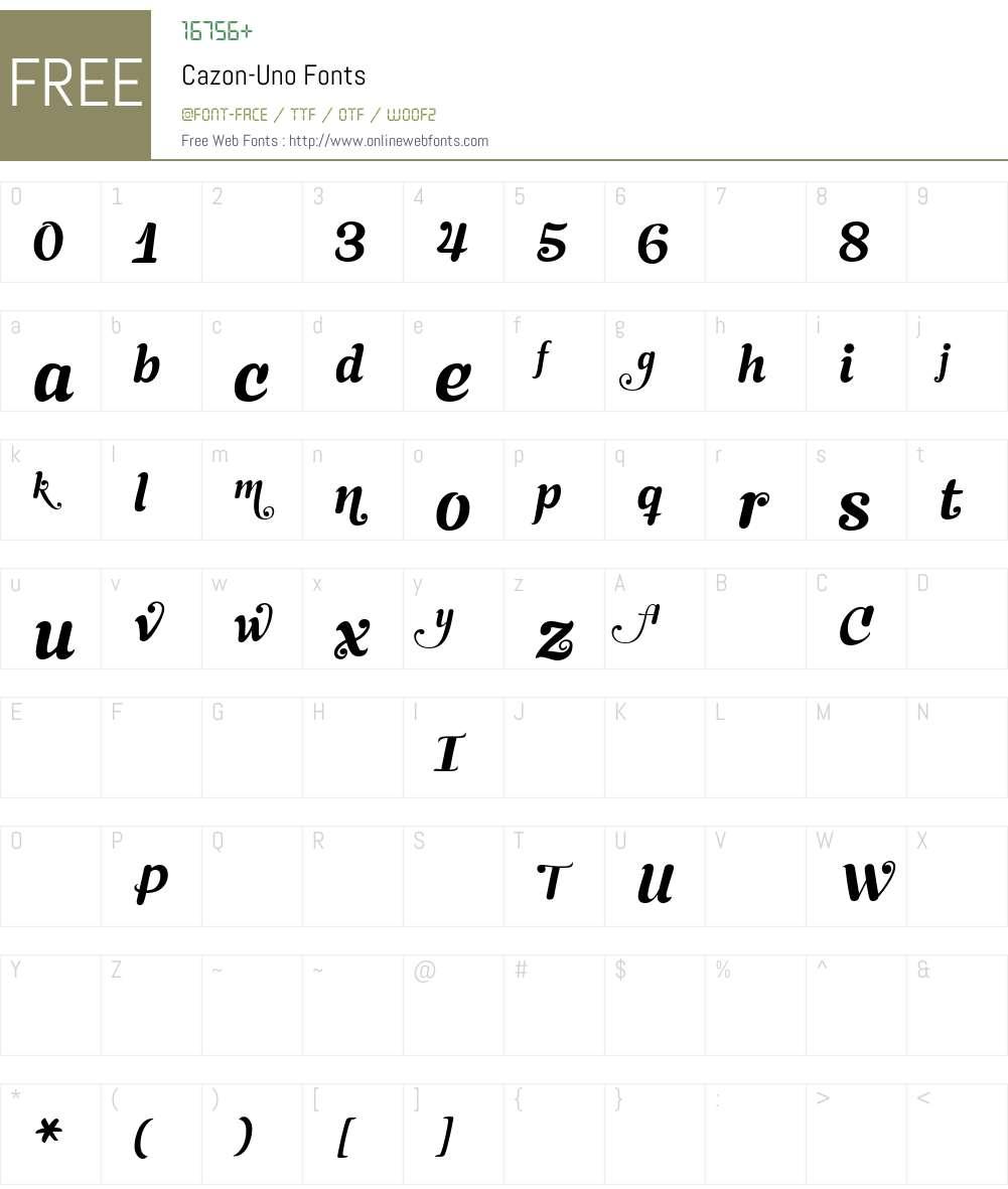 Cazon-Uno Font Screenshots