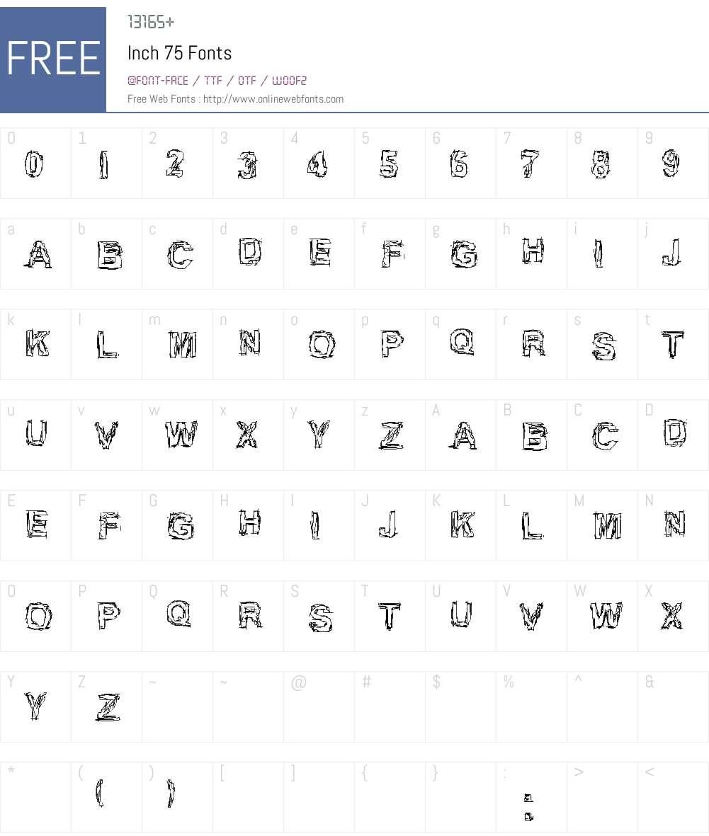Inch 75 Font Screenshots
