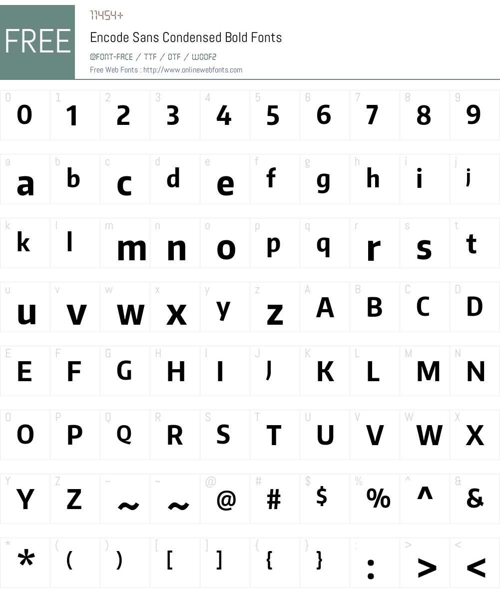 Encode Sans Condensed Font Screenshots