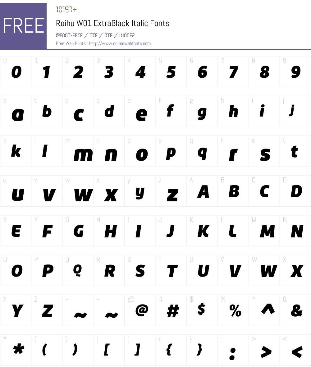 RoihuW01-ExtraBlackItalic Font Screenshots