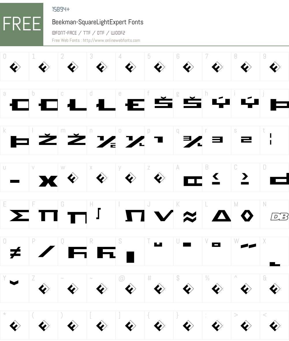 Beekman-SquareLightExpert Font Screenshots
