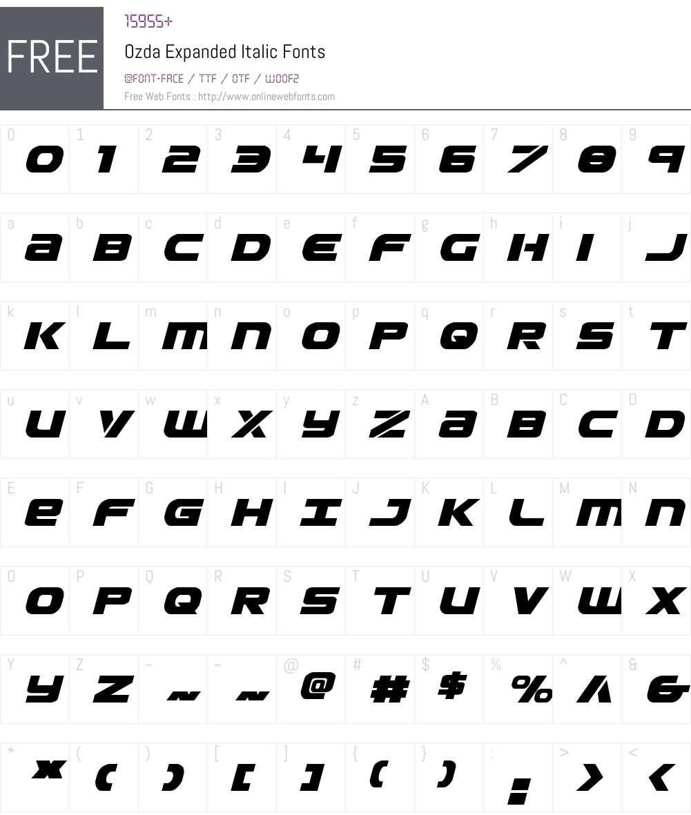 Ozda Expanded Italic Font Screenshots