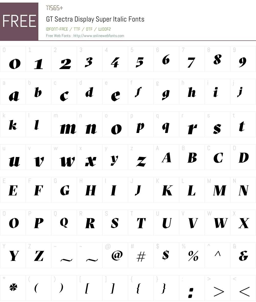 GT Sectra Display Super Font Screenshots