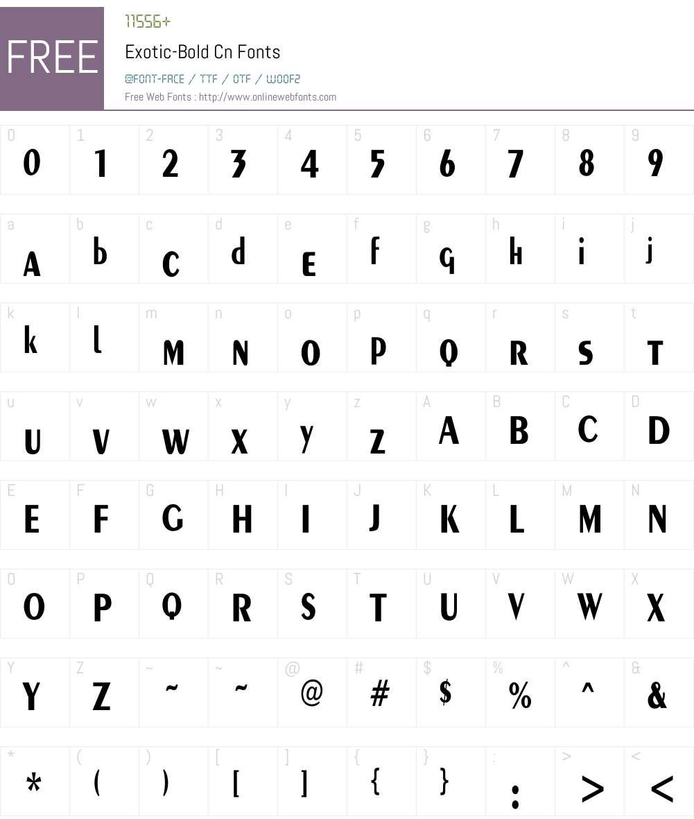 Exotic-Bold Cn Font Screenshots