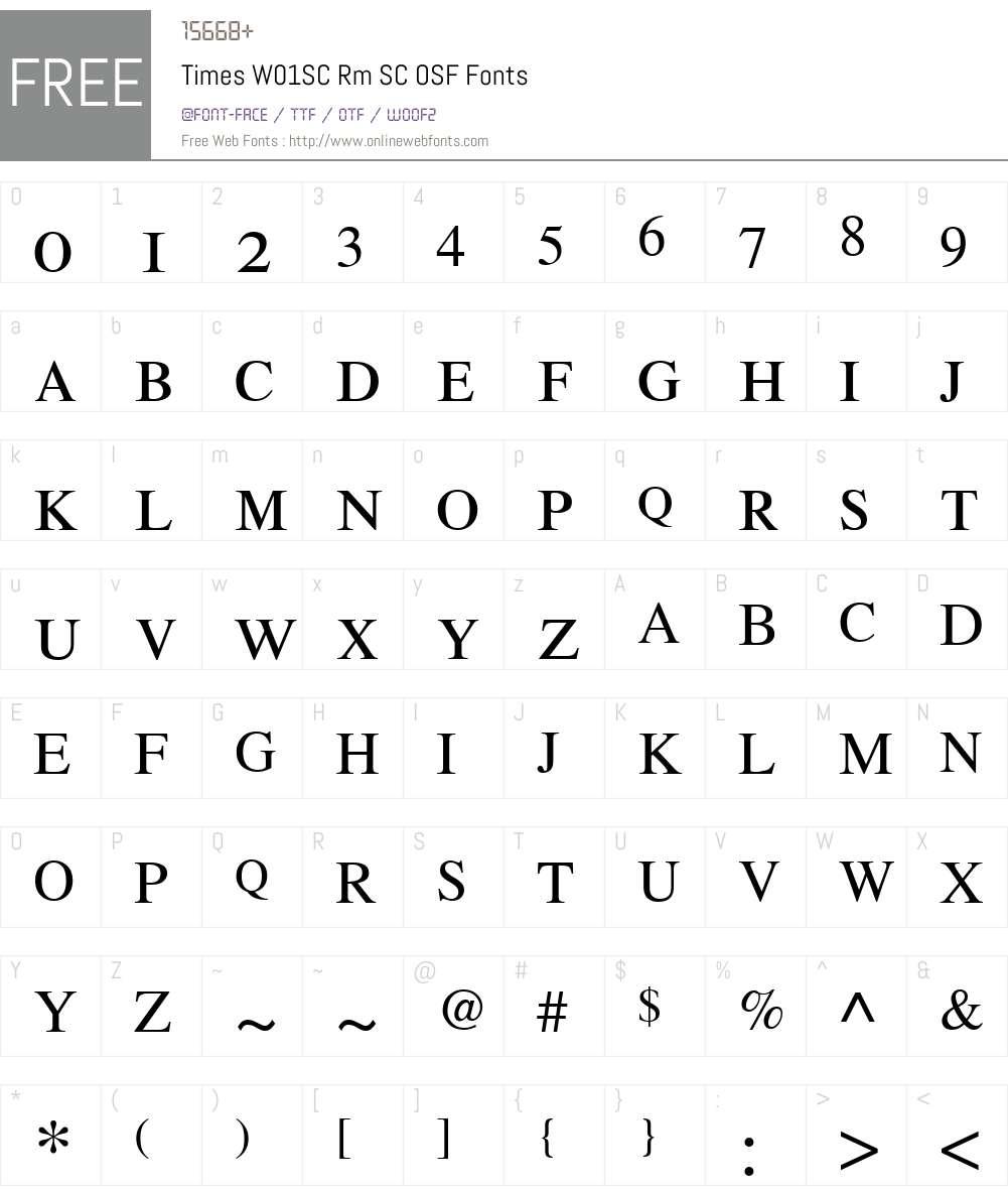 TimesW01SC-RmSCOSF Font Screenshots