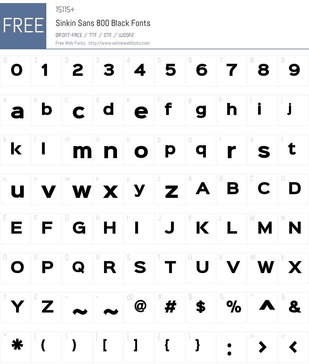 Sinkin Sans 800 Black Font Screenshots