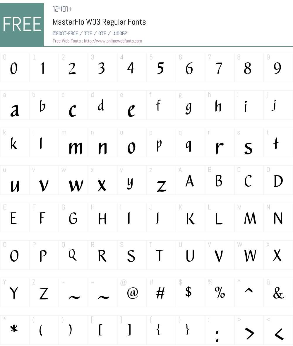 MasterFloW03-Regular Font Screenshots