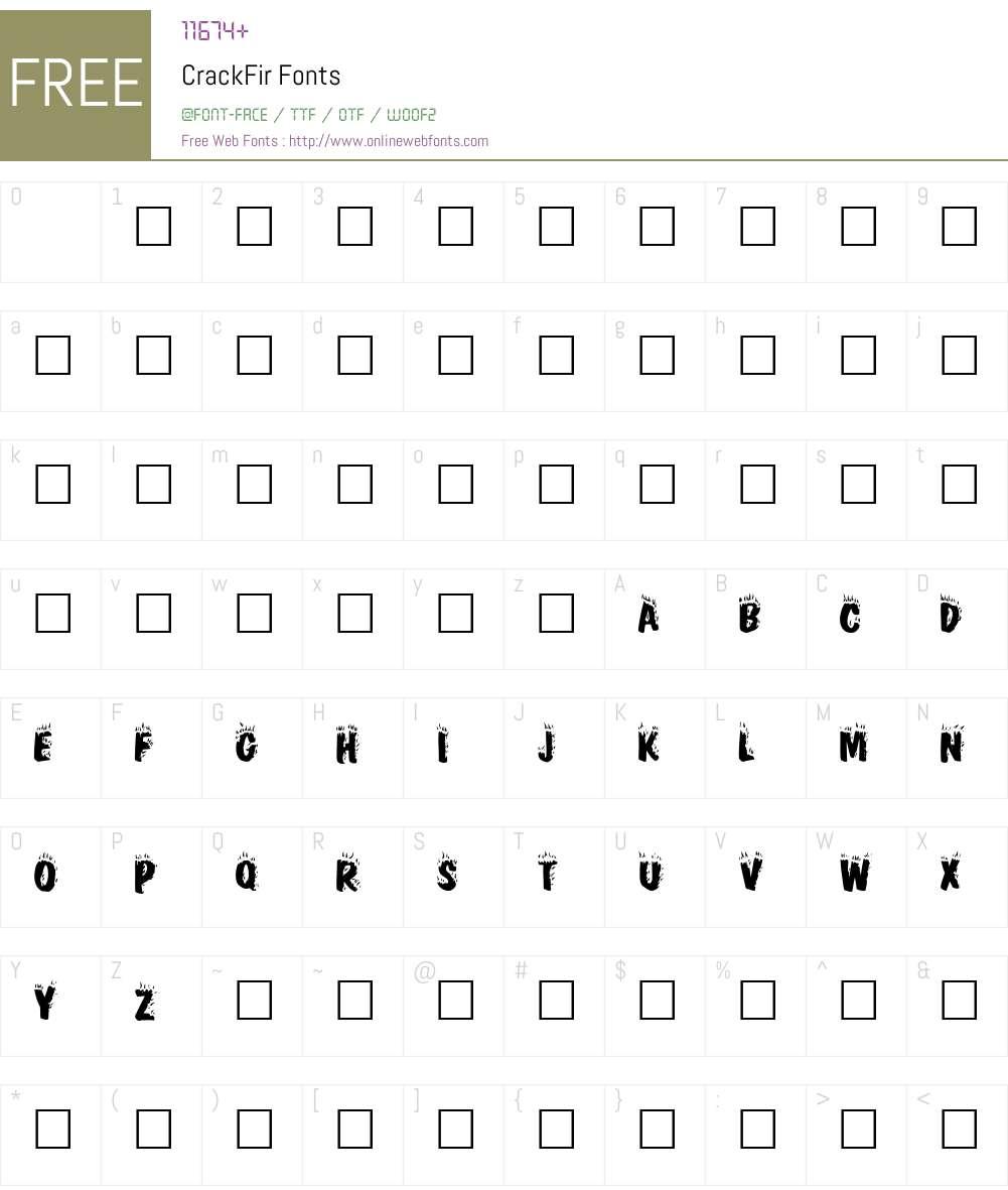 CrackFir Font Screenshots