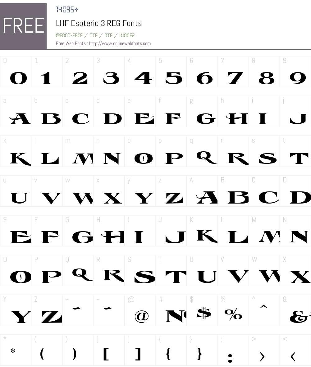 LHF Esoteric 3 REG Font Screenshots