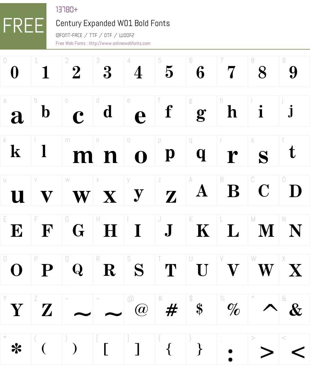 CenturyExpandedW01-Bold Font Screenshots