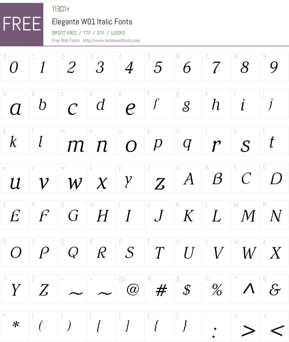 EleganteW01-Italic Font Screenshots