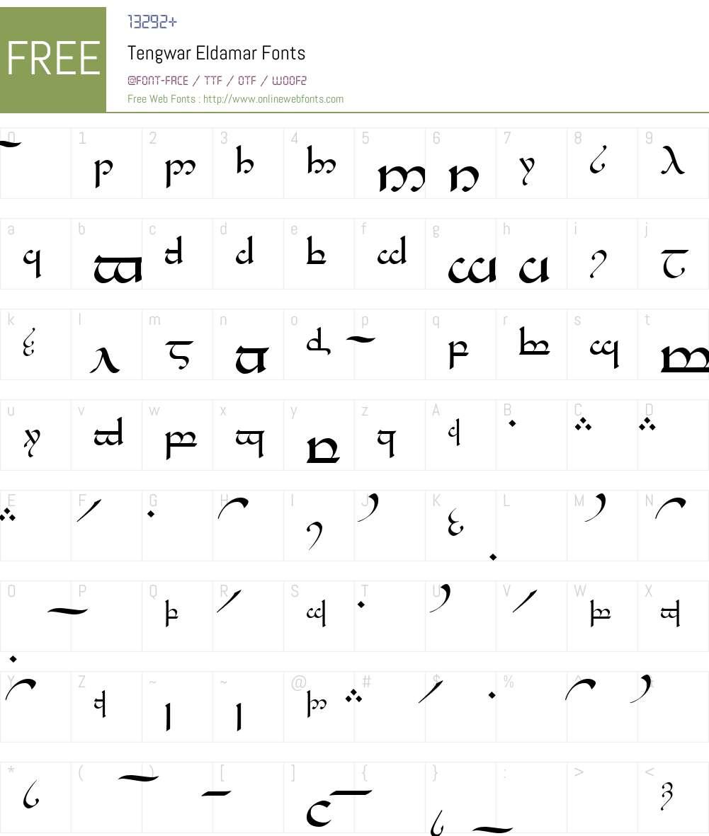 Tengwar Eldamar Font Screenshots