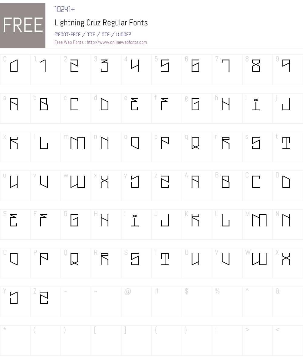 Lightning Cruz Font Screenshots