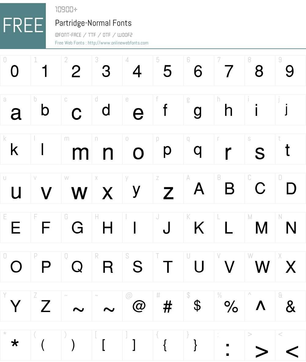 Partridge-Normal Font Screenshots