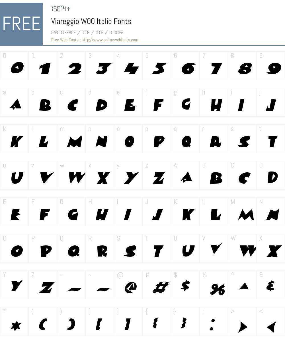 ViareggioW00-Italic Font Screenshots