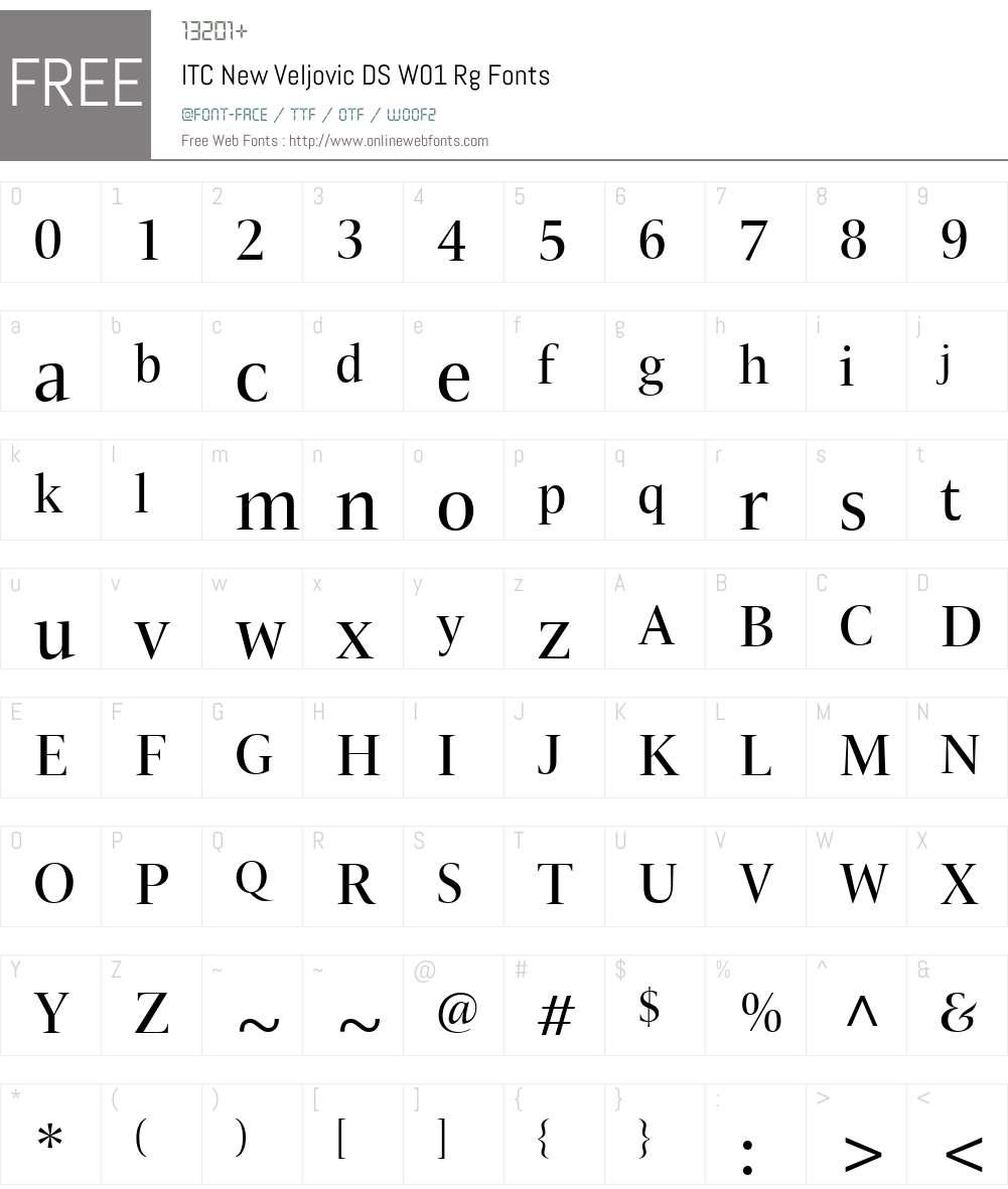 ITCNewVeljovicDSW01-Regular Font Screenshots