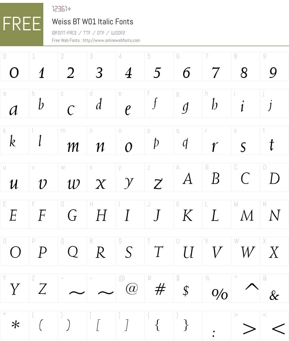 WeissBTW01-Italic Font Screenshots