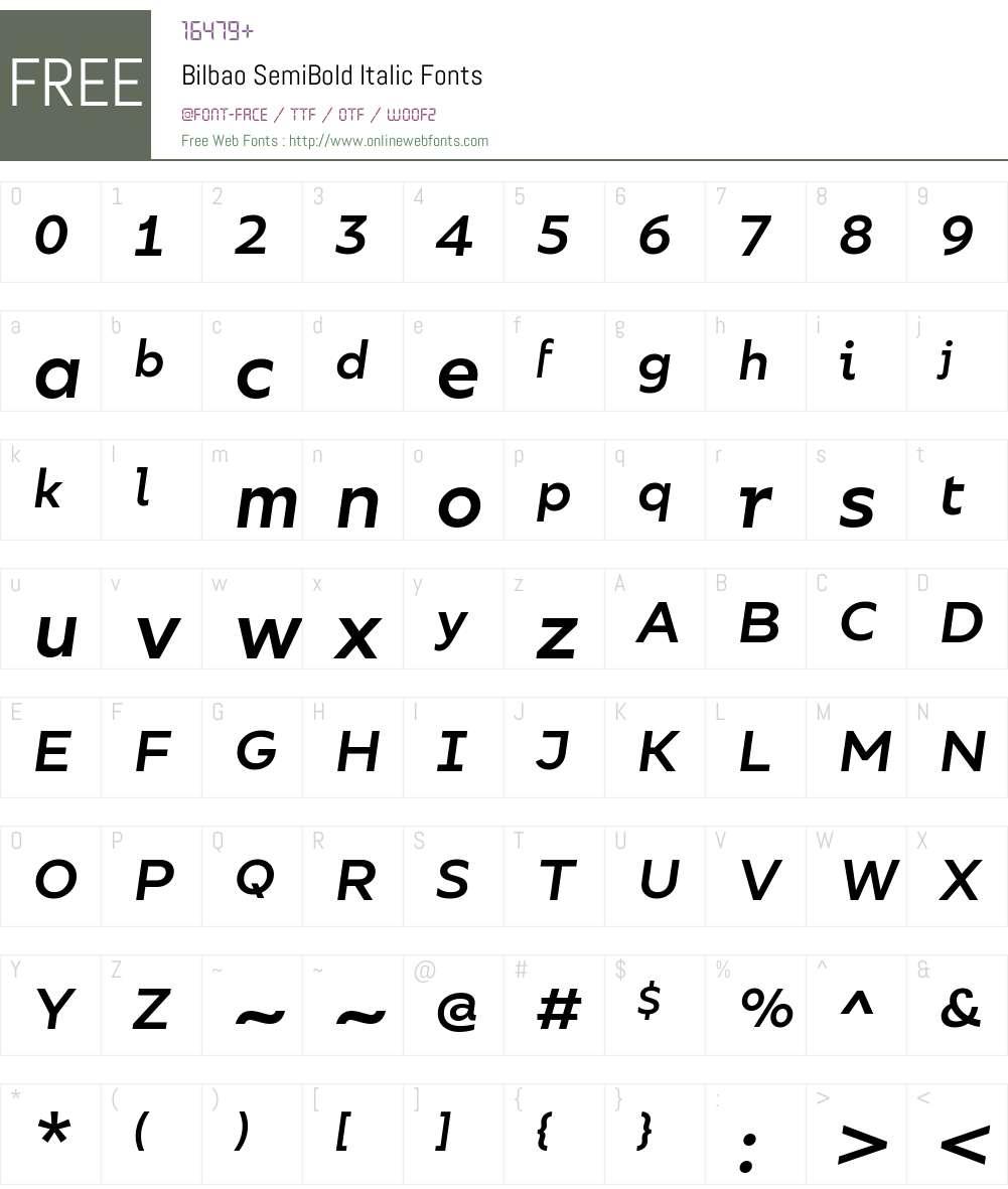 Bilbao SemiBold Italic Font Screenshots