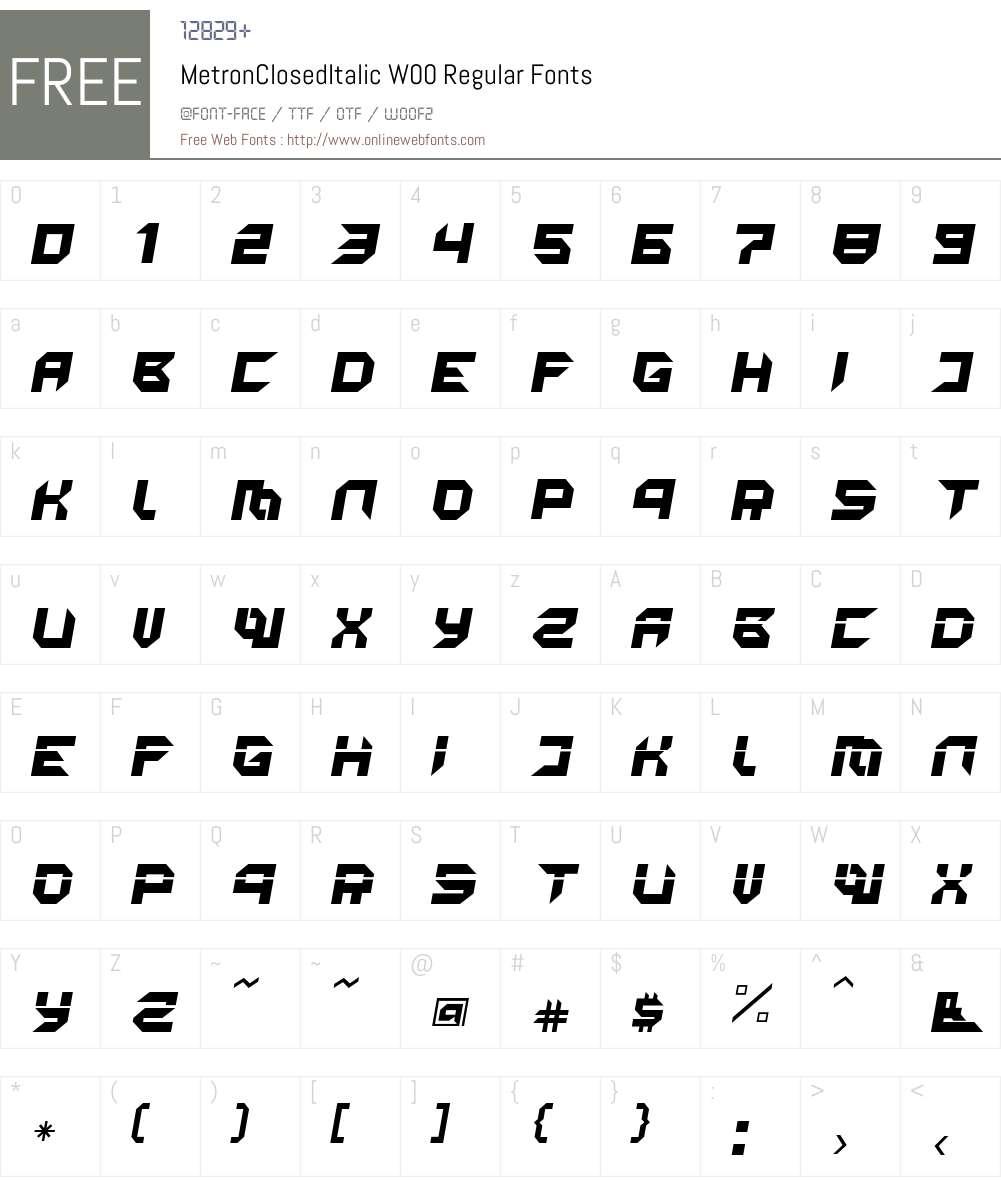 MetronClosedItalic Font Screenshots