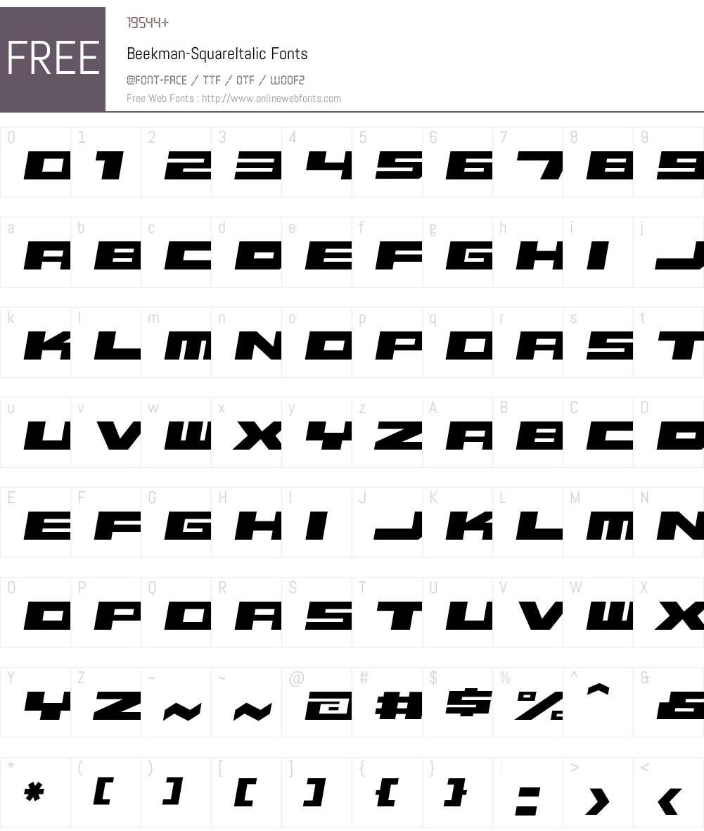 Beekman-SquareItalic Font Screenshots