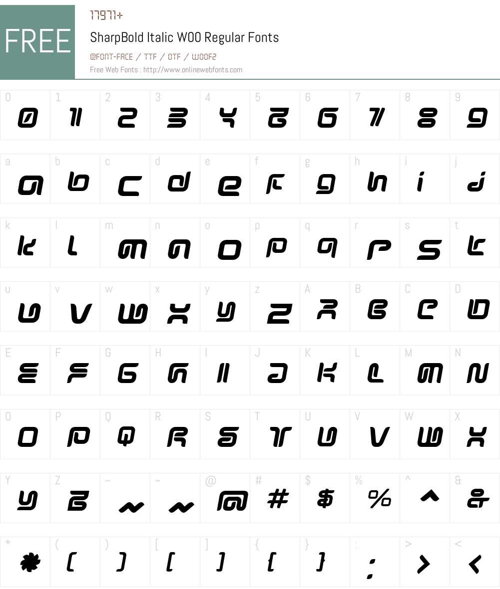 SharpBold Italic Font Screenshots