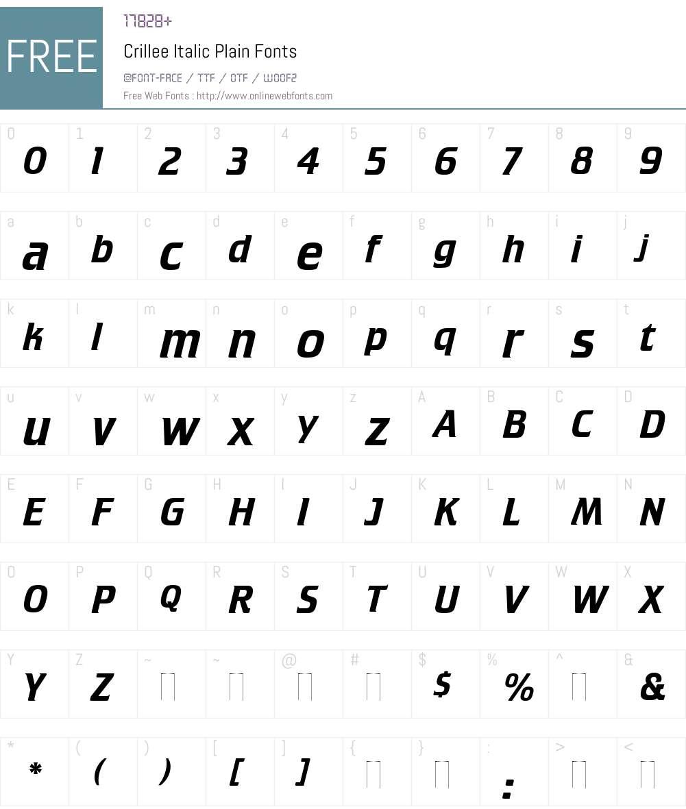 Crillee Italic Font Screenshots