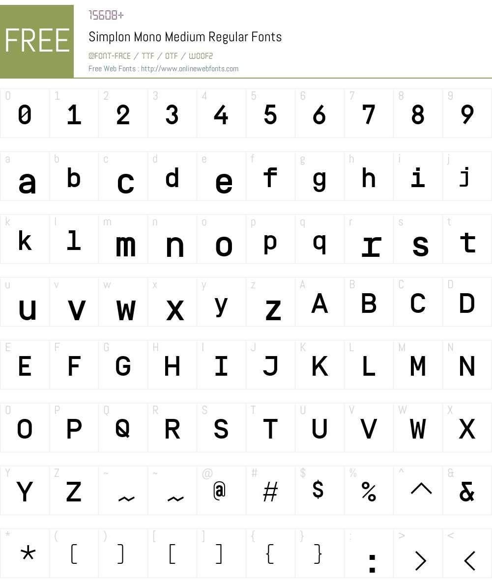 Simplon Mono Medium Font Screenshots
