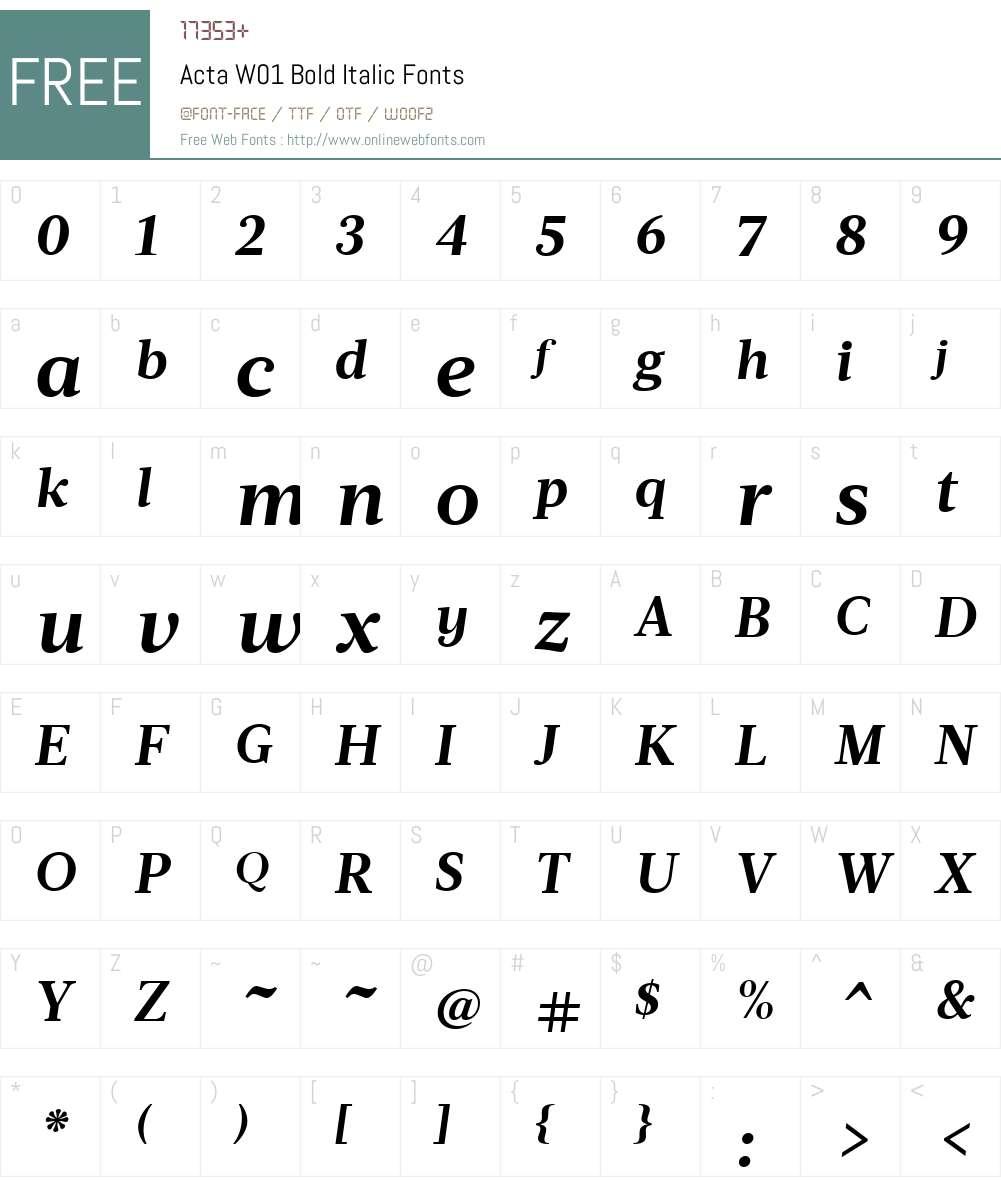 ActaW01-BoldItalic Font Screenshots