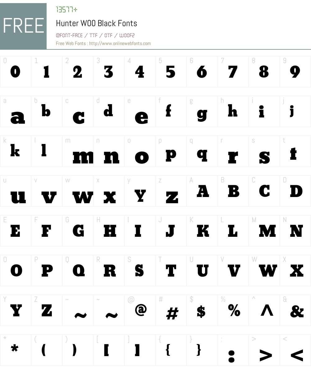 HunterW00-Black Font Screenshots