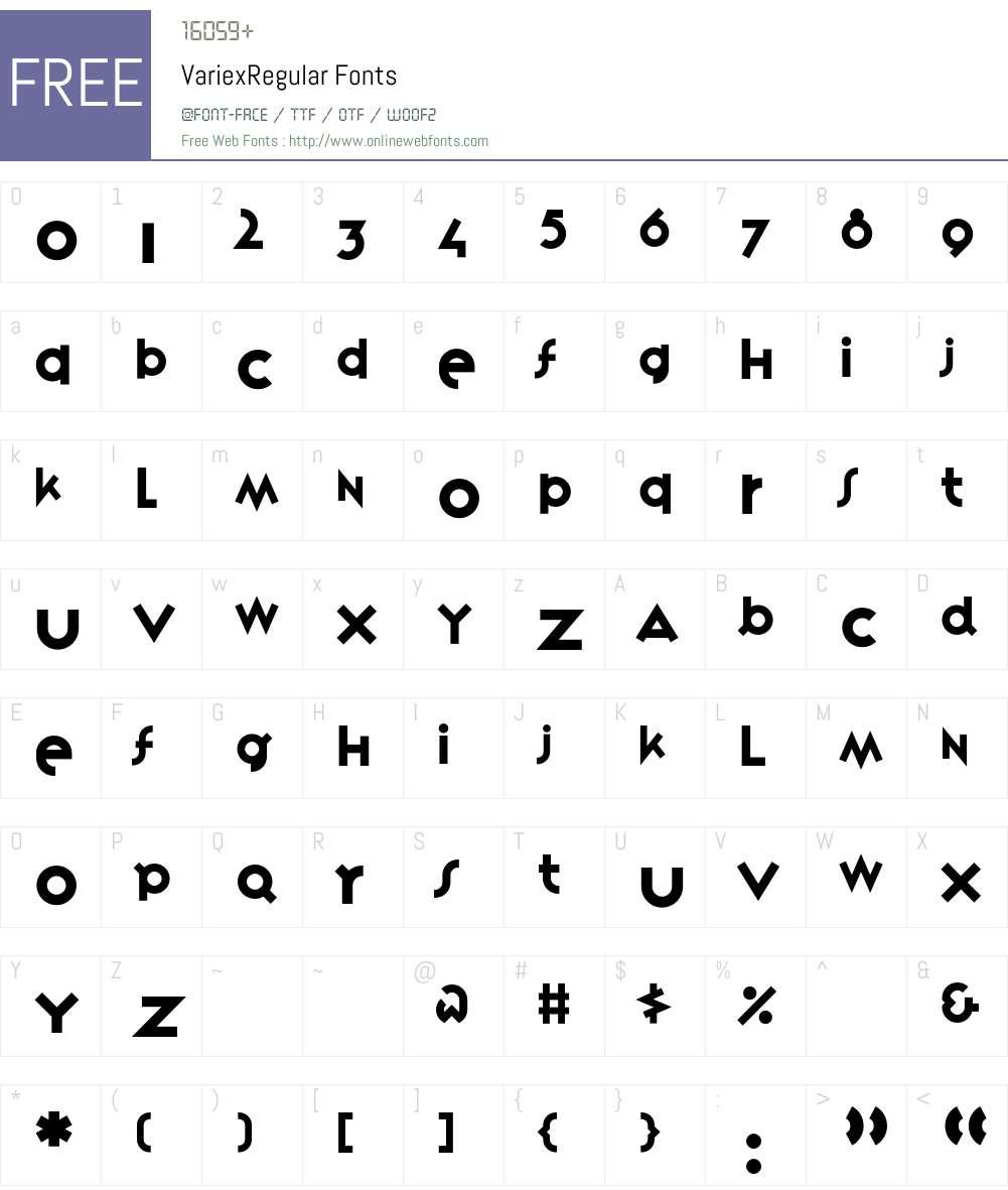 VariexRegular Font Screenshots