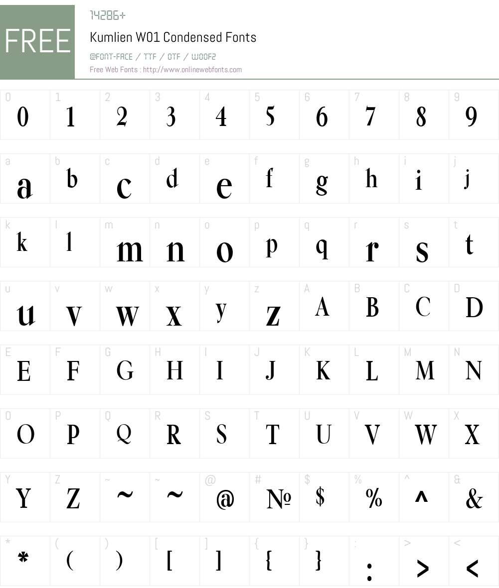 KumlienW01-Condensed Font Screenshots