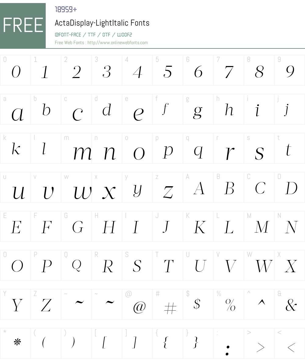 Acta Display Light Font Screenshots