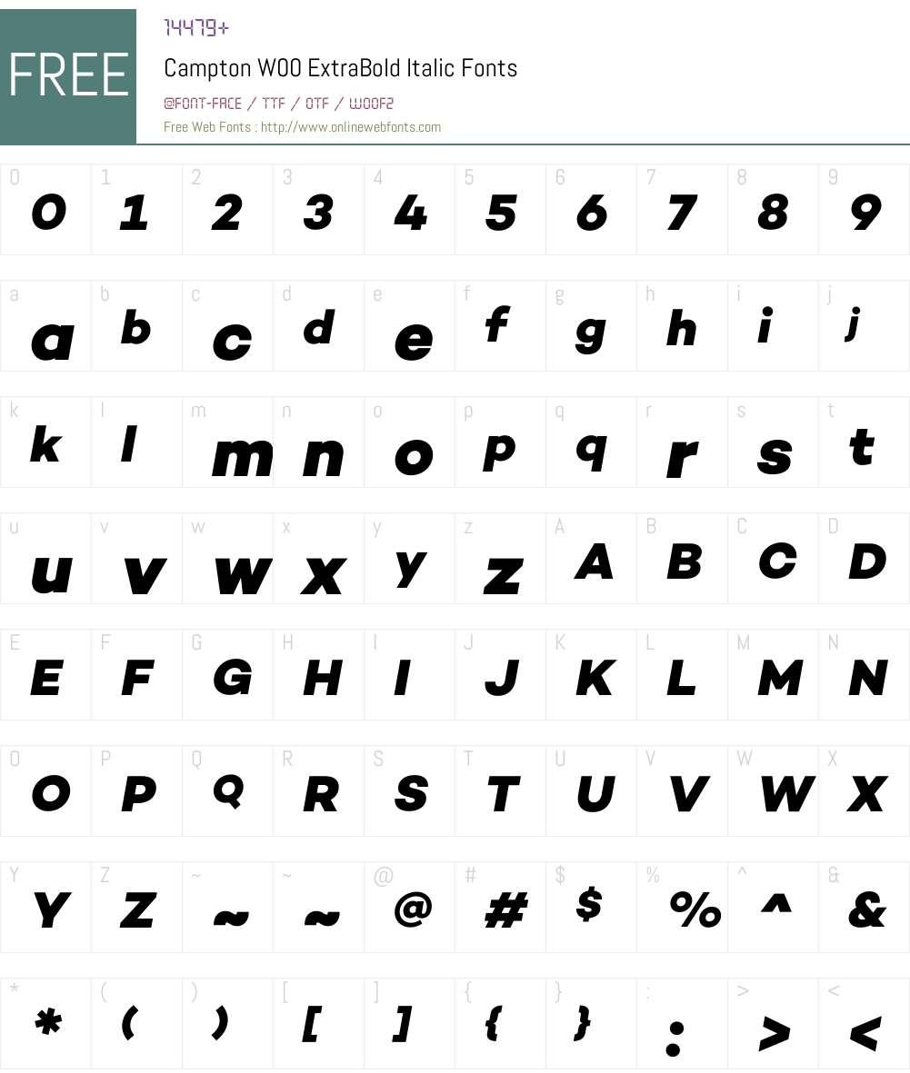 CamptonW00-ExtraBoldItalic Font Screenshots