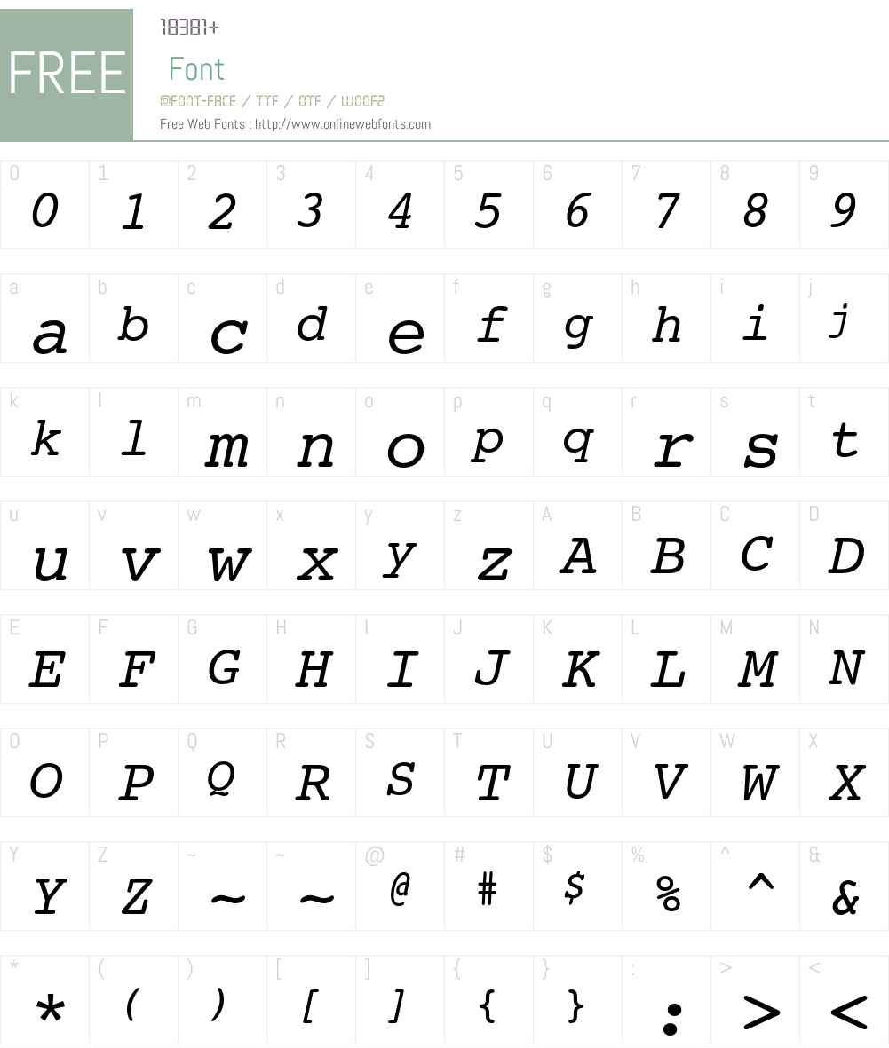 Courier 10 Pitch Font Screenshots