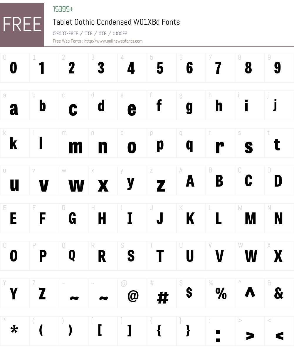 TabletGothicCondensedW01-XBd Font Screenshots
