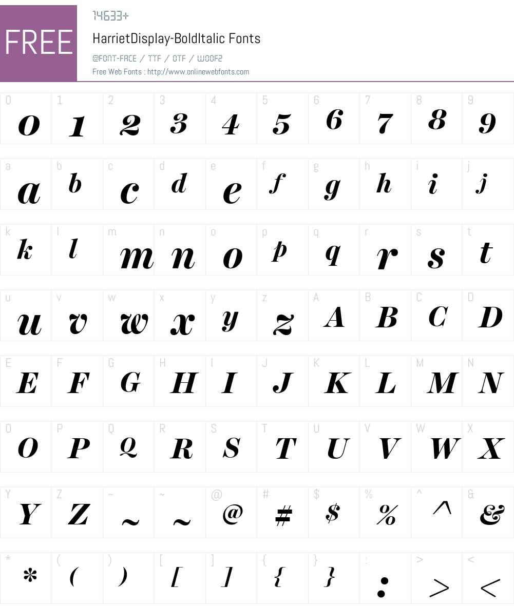 Harriet Display Font Screenshots