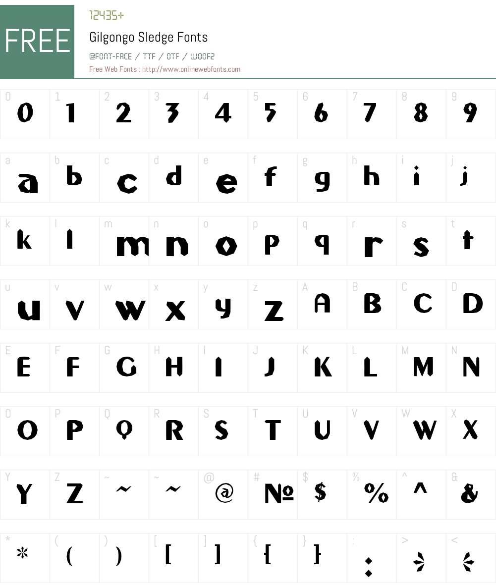 Gilgongo Sledge Font Screenshots