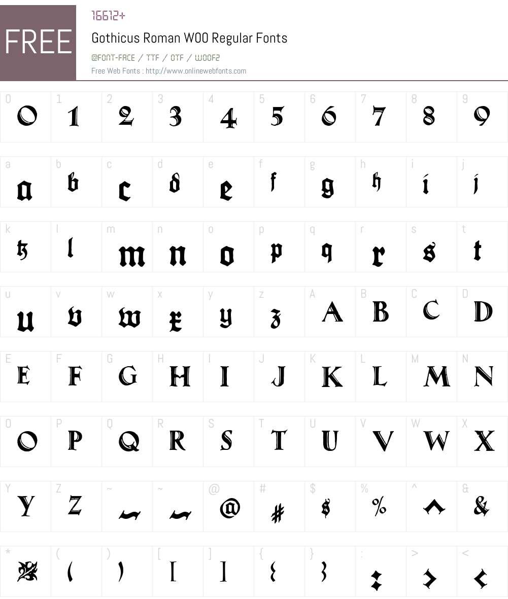 GothicusRomanW00-Regular Font Screenshots